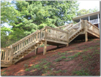 Pictures Stairs On Wood Deck Construction In The North Georgia